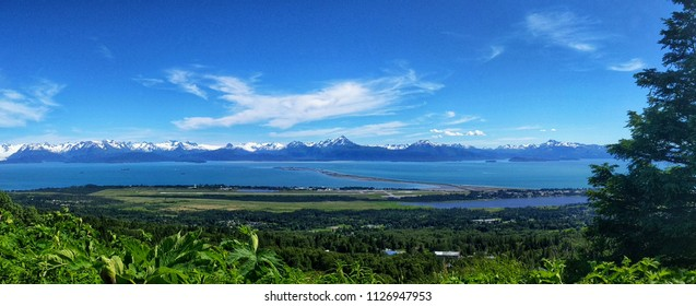 Panorama of Homer Spit and Kachemak Bay in Alaska
