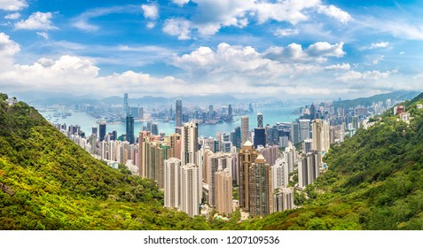 Panorama of Hong Kong business district in a summer day