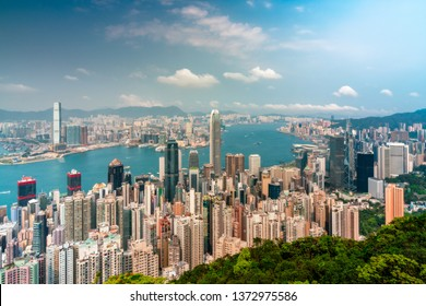 Panorama of Hong Kong City skyline. View from The peak Hongkong.