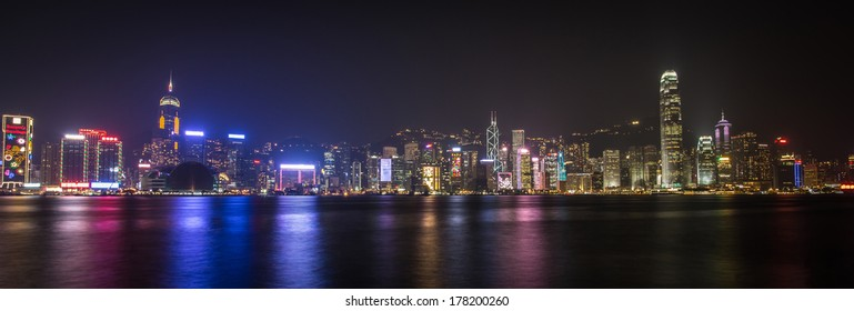 panorama of Hong Kong Island at night