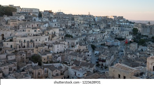 Panorama of houses built into the rock in the cave city of Matera (Sassi di Matera), Basilicata Italy. Matera has been designated European Capital of Culture for 2019.