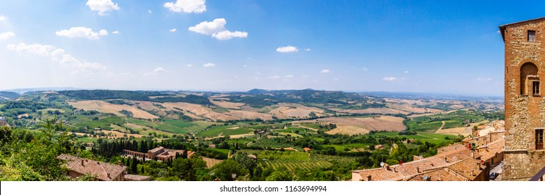 Panorama of Houses and Landscape near Montepulciano, Italy