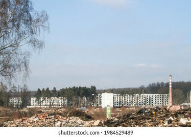 Panorama of the housing communist buildings of Milovice Bozi Dar, Czechia, being destroyed, Milovice Bozi Dar was an abandoned soviet military base in Czechoslovakia. - Shutterstock ID 1984529489