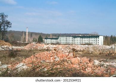 Panorama of the housing communist buildings of Milovice Bozi Dar, Czechia, being destroyed, Milovice Bozi Dar was an abandoned soviet military base in Czechoslovakia. - Shutterstock ID 2012534921
