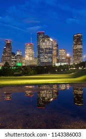Panorama of Houston at night. Houston, Texas, USA.