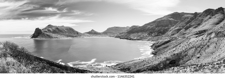 Panorama of Hout Bay near Cape Town, South Africa in black and white