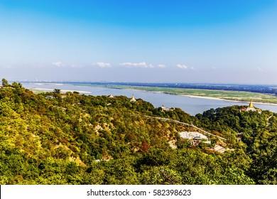 Panorama from Hsinbyume Myatheindan Pagoda (White Temple) in Mingun, near Mandalay in Myanmar (Burma)
