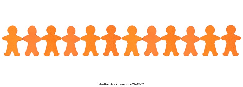 Panorama of a human chain of wooden figures in front of white background