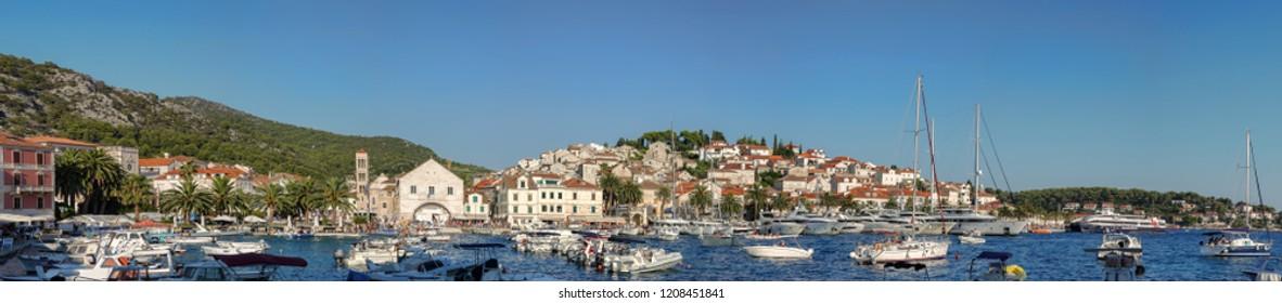 Panorama of Hvar, a city and port on the island of Hvar, part of Split-Dalmatia County, Croatia.