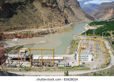 Panorama of hydro power plant with substation. Mountains. Russia