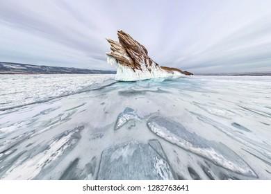 panorama ice icicles on Ogoy island winter Lake Baikal. Siberia, Russia