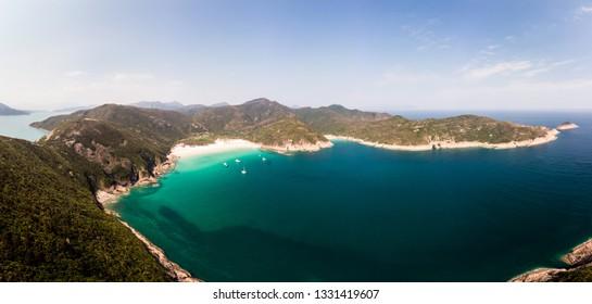 Panorama of the idyllic Sai Kung peninsula in the New Territories in Hong Kong wilderness, China