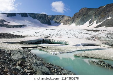Panorama of the IGAN glacier. Polar Ural, Russia