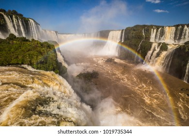 Panorama of the Iguazu Waterfalls in Foz Do Iguazu, Brazil