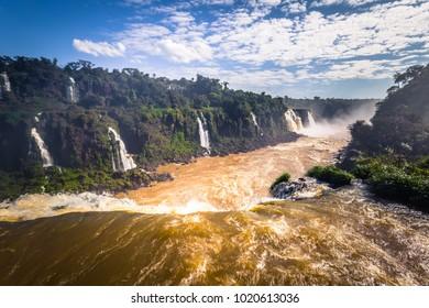 Panorama of the Iguazu Waterfalls in Foz Do Iguazu, Brazil