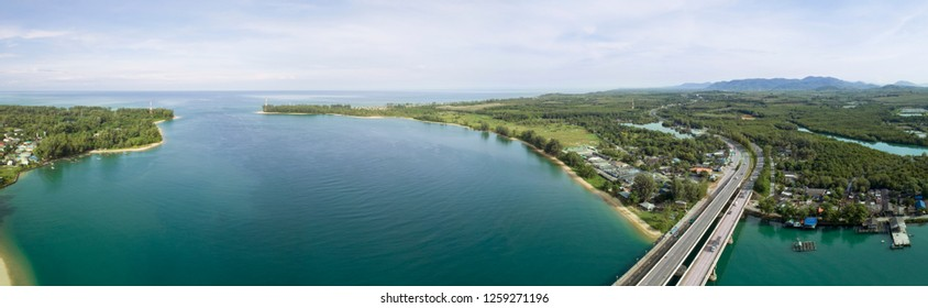 Panorama image Aerial drone shot of bridge with beautiful landscape nature view at phuket thailand.