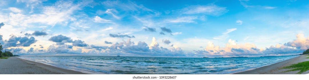 Panorama image of the beach on sunny day at Mae Pim Beach on Chakphong,Pae-Klang road, Klaeng District, Rayong Thailand