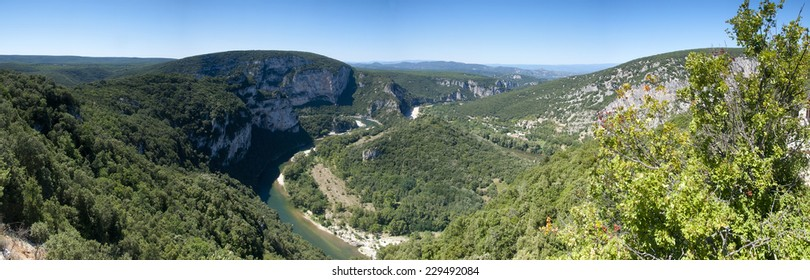 Panorama image of a bend in the famous river of the Ardeche gorge