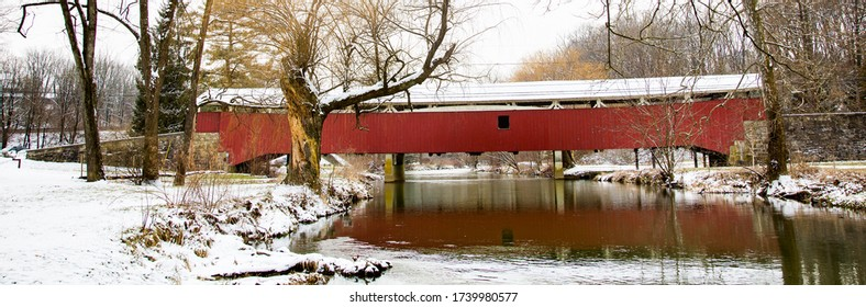 A panorama image of Bogert's Covered Bridge, Allentown, PA