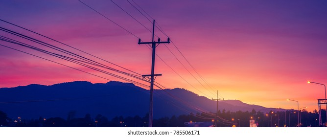 panorama image of car on road on evening during twilight time for background usage. - Shutterstock ID 785506171