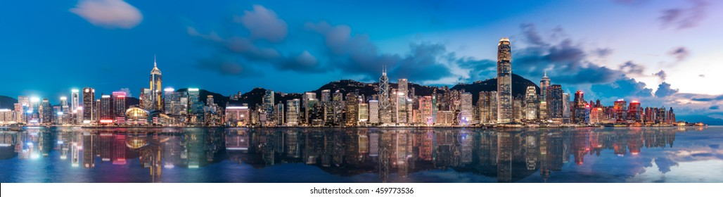 Panorama image of Hong Kong Victoria Harbor Scenes