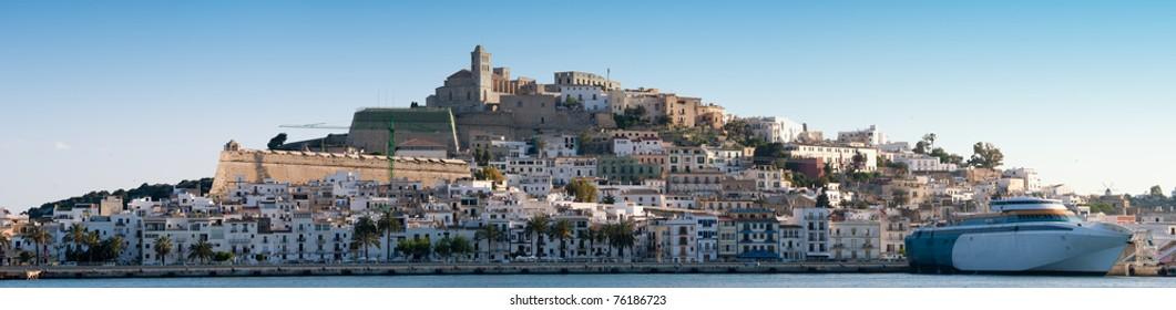 Panorama image of Ibiza town , Spain, Europe