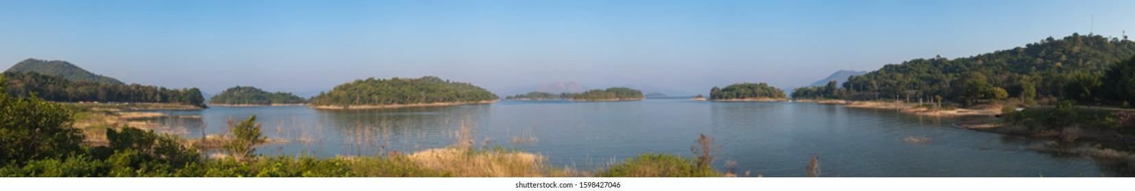 Panorama image of Lake with Rainforest in morning time at Kaeng Krachan National Park, Phetburi, Thailand.