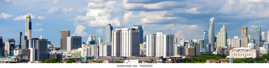 Panorama image - Modern building in business district at Bangkok city, Thailand.