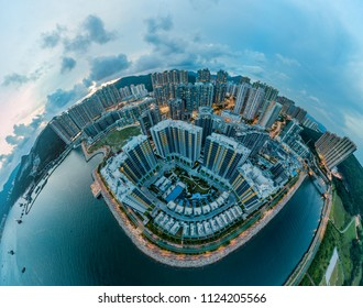 Panorama images of Hong Kong Cityscape at aerial view