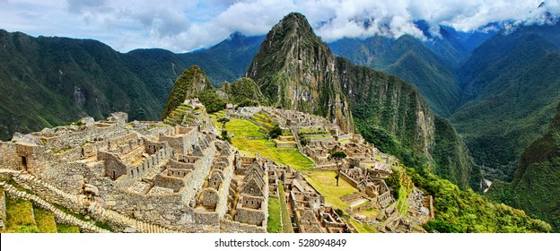 Panorama of the Incan citadel Machu Picchu in Peru. In 2007 Machu Picchu was voted one of the New Seven Wonders of the World.