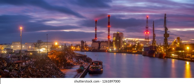 Panorama of industrial areas: port, power plant, shipyard