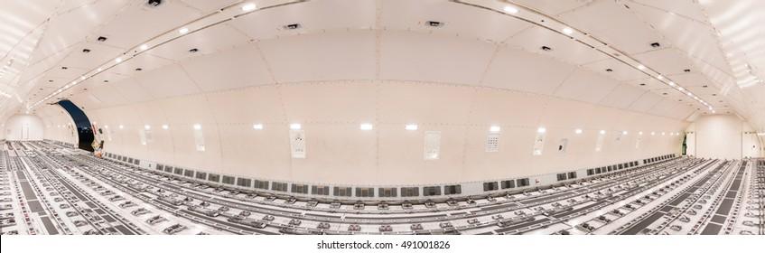 panorama inside air cargo freighter