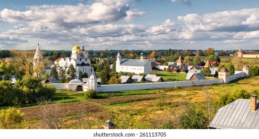 Panorama of Intercession convent (Pokrovsky monastery), Suzdal, Russia. Ancient city of Suzdal is a landmark as a part of the Golden Ring of Russia. Panoramic view of traditional Russian countryside.