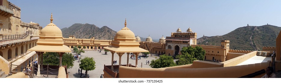 Panorama of interior of  Amber Fort near  Jaipur, Rajasthan, India