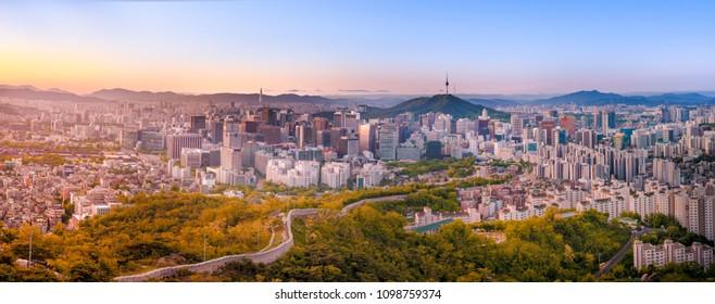 Panorama, Inwangsan Mountain Seoul, Beautiful landscape in the mountains at sunrise. Seoul ,South Korea.