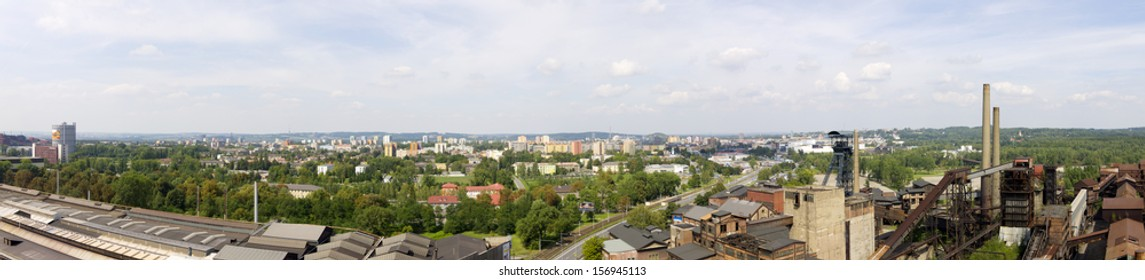 Panorama of Va­tkovice Iron and Steel Works and Ostrava city, Czech Republic. It is Industrial Heritage Site and unique example of industrial architecture from the 1st half of 19th century