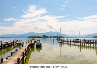 Panorama of Island Fraueninsel on lake Chiemsee at harbour Gstadt