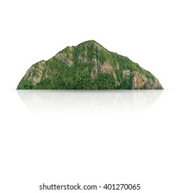 Panorama island, hill, mountain isolated on a white background, with clipping path.