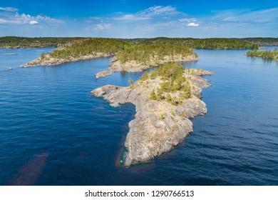 Panorama of the Islands. Northern nature. Islands from a height. Karelia. Ladoga lake. Russia. Panorama of Karelia. The nature of Russia. Islands in Lake Ladoga. Republic of Karelia.