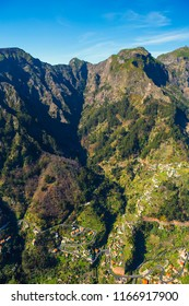 Panorama of isolated high cliff valley of Curral das Freiras. Madeira, Portugal.