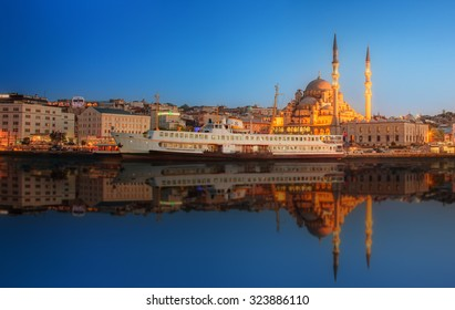 Panorama of Istanbul at a dramatic sunset from Galata Bridge, Istanbul, Turkey