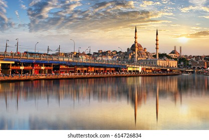 Panorama of Istanbul at a dramatic sunset from Galata, Istanbul, Turkey
