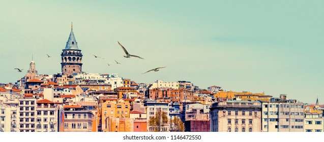 Panorama of Istanbul with Galata Tower at skyline and seagulls. Urban landscape with building of Beyoglu and Karakoy district of Istanbul city for your billboard or banner about travel on Turkey.