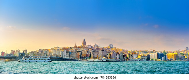 panorama of Istanbul overlooking the Bosphorus and the Galata Tower