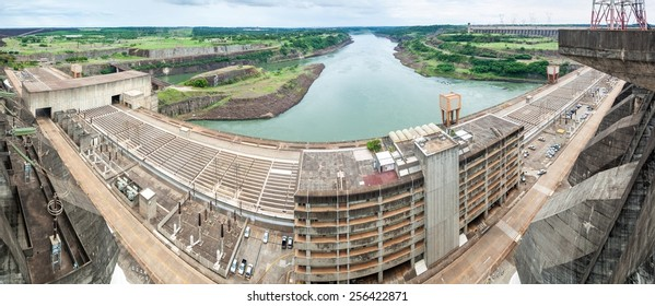 Panorama of Itaipu dam on river Parana on the border of Brazil and Paraguay