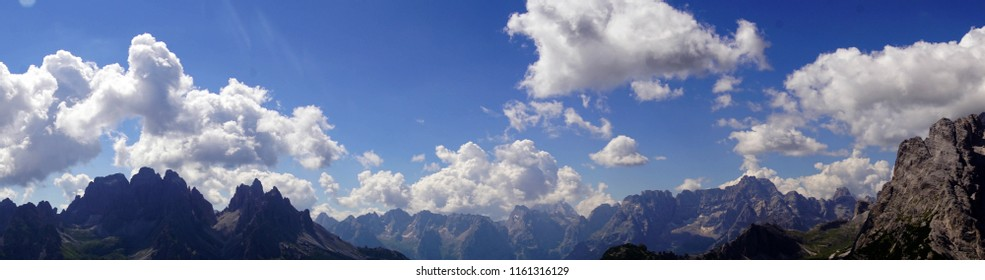 Panorama of jagged mountains from the Monte piana, Dolomites Alps, Italy