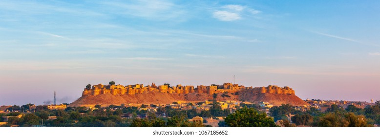 Panorama of Jaisalmer Fort - one of the largest forts in the world, known as the Golden Fort Sonar quila on sunrise. Jaisalmer, Rajasthan, India
