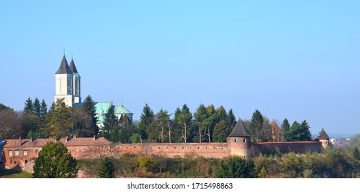 Panorama of Jaroslaw - towers of the Benedictine monastery in Jaroslaw surrounded by the old city walls.