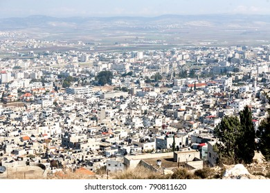 Panorama of Jenin in Palestine, West Bank.