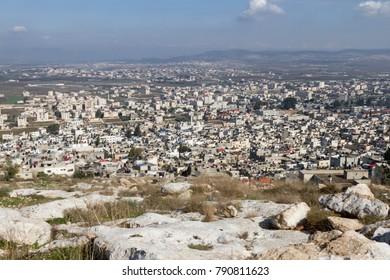 Panorama of Jenin in Palestine, West Bank.